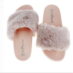Not Rated Fuzzy Pink Slide Sandals